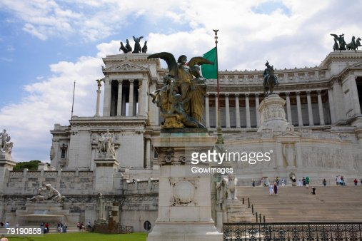 Low angle view of a monument, Vittorio Emanuele Monument, Piazza Venezia, Rome, Italy : Stock Photo
