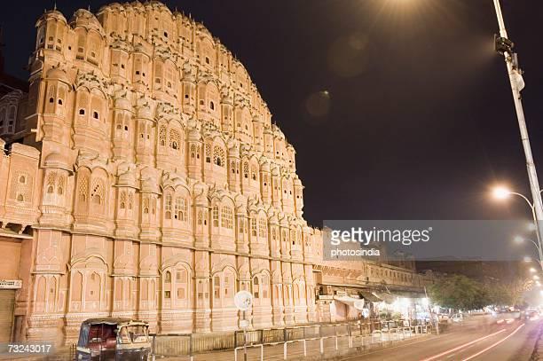 Low angle view of a palace at night, Hawa Mahal, Jaipur, Rajasthan, India