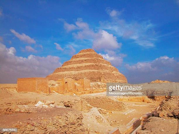 Low angle view of a pyramid in an arid landscape, The Step Pyramid Of Zoser, Saqqara, Egypt