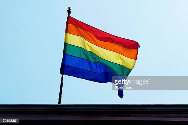 Low angle view of a rainbow flag fluttering