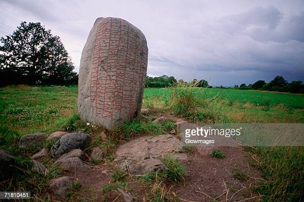 Low angle view of a rock on a landscape, Oland, Sweden