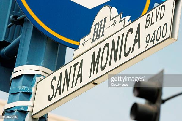 Low angle view of a Santa Monica Boulevard Sign, Los Angeles, California, USA