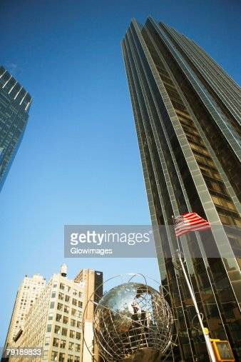 Low angle view of a sculpture of globe, Columbus Circle, Manhattan, New York City, New York State, USA : Stock Photo