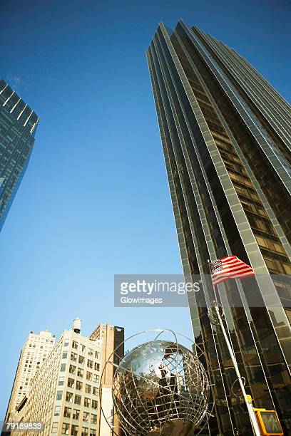 Low angle view of a sculpture of globe, Columbus Circle, Manhattan, New York City, New York State, USA