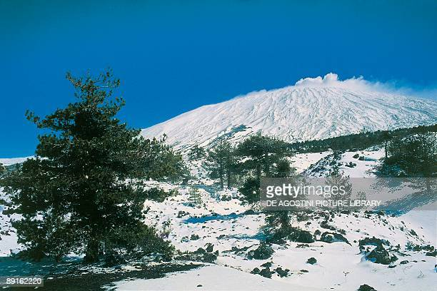 Low angle view of a snow covered mountain Mt Etna Parco Dell Etna Taormina Sicily Italy