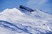 Low angle view of a snowcapped mountain, Swiss Alps, Davos, Graubunden Canton, Switzerland