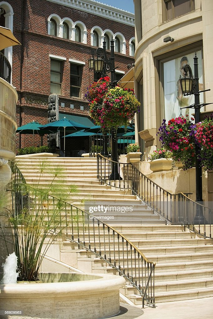 Low angle view of a staircase outside shops, Rodeo Drive, Los Angeles, California, USA