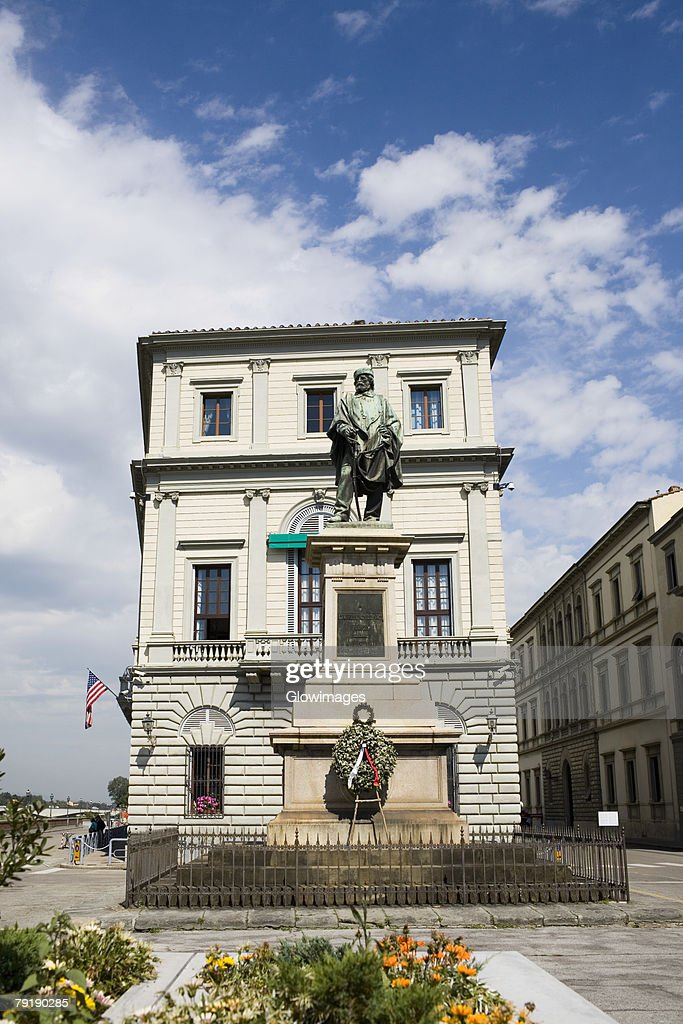 Low angle view of a statue in front of a building, Giuseppe Garibaldi, Florence, Italy : Stock Photo