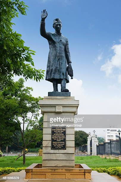 Low angle view of a statue Jawaharlal Nehru statue Bangalore Karnataka India