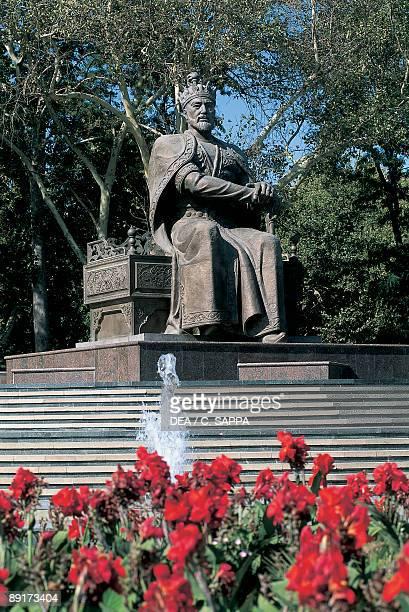 Low angle view of a statue of Timur Samarkand Uzbekistan