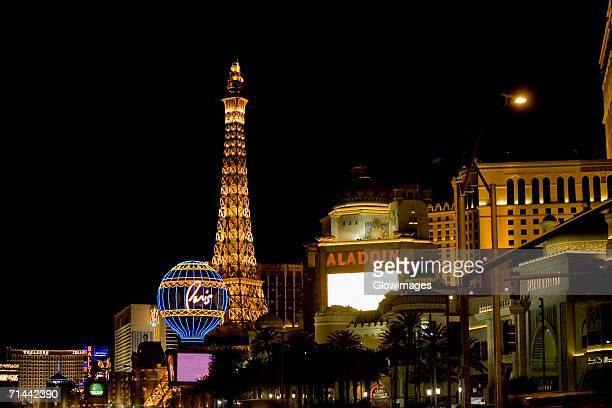 Low angle view of a tower lit up at night, Las Vegas, Nevada, USA