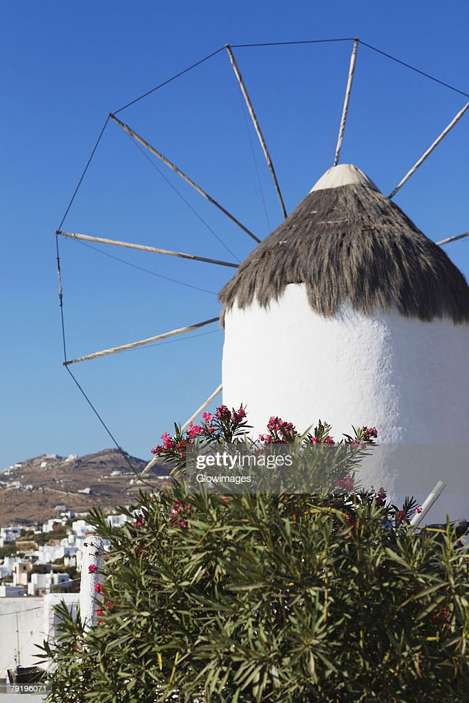 Low angle view of a traditional windmill, Mykonos, Cyclades Islands, Greece