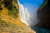 Low angle view of a waterfall, Tamul Waterfall, Aquismon, San Luis Potosi, Mexico