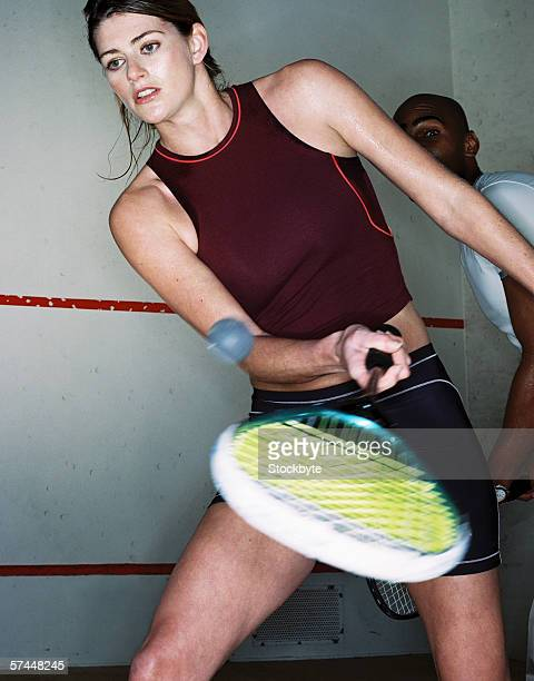 low angle view of a woman playing tennis
