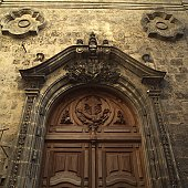 Low angle view of a wooden carved door of a church, Havana, Cuba