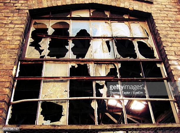 Low Angle View Of Abandoned Window In Building