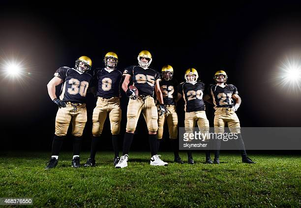 Low angle view of American football team.