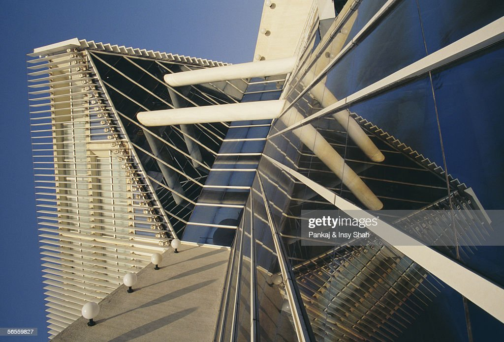 Low Angle View Of An Architectural Glassy Building Stock