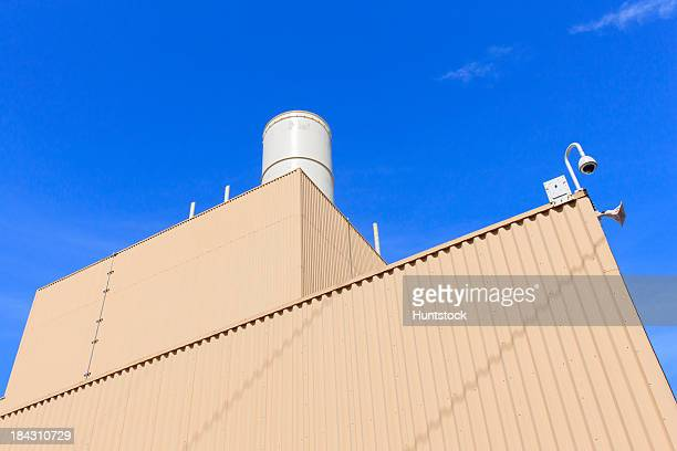 Low angle view of an exhaust stack at an Electric cogeneration power plant