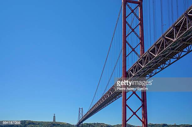 Low Angle View Of April 25Th Bridge Against Clear Blue Sky