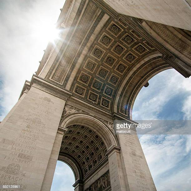 France, Paris, Sun shining across the edge of Arc de Triomphe