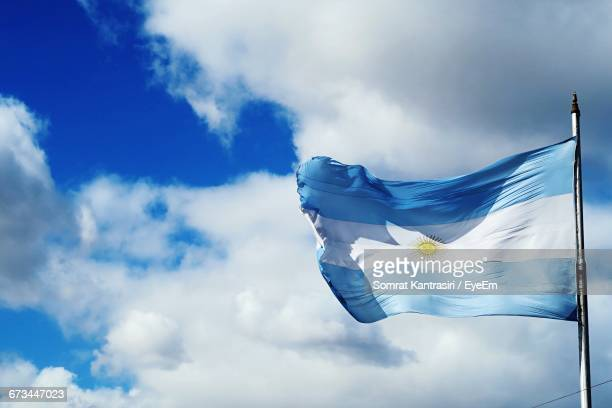 Low Angle View Of Argentina Flag Against The Sky