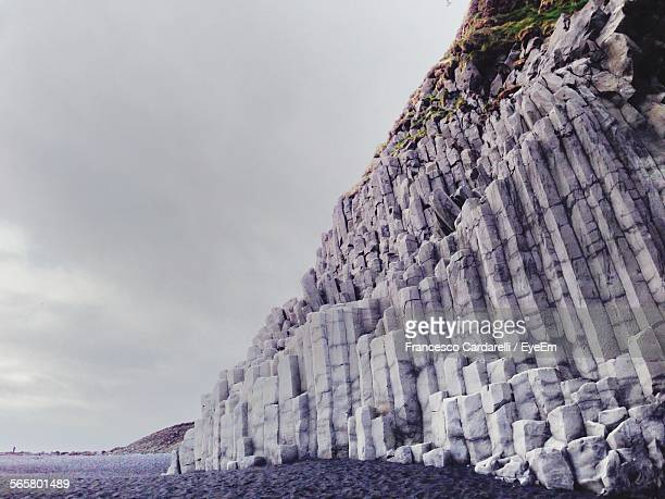 Low Angle View Of Basalt Columns At Dyrholaey