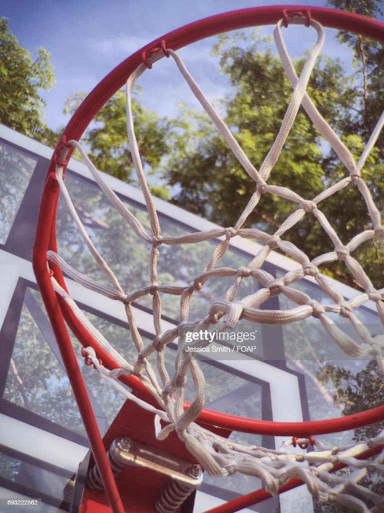 low angle view of basketball hoop stock photo getty images