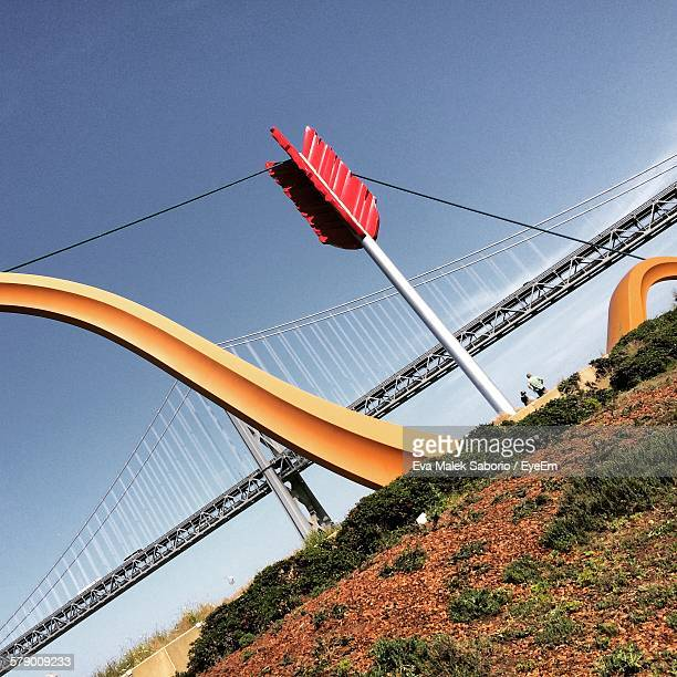 Low Angle View Of Bay Bridge And Cupid Span Against Clear Sky
