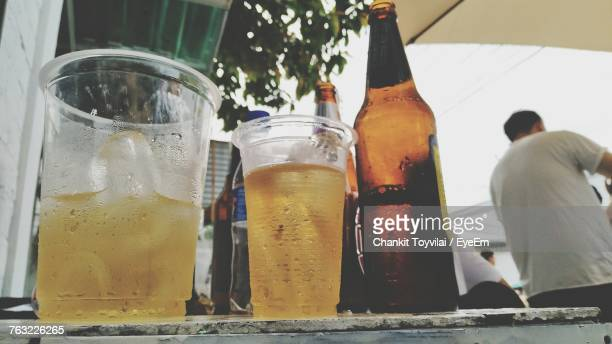 Low Angle View Of Beer On Table