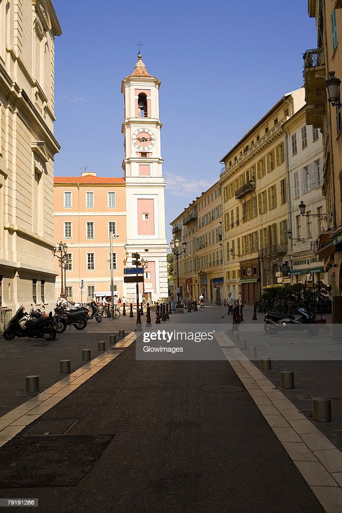 Low angle view of bell tower of a church, Nice, France : Stock Photo