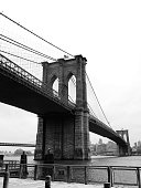 Low Angle View Of Brooklyn Bridge Over River Against Clear Sky