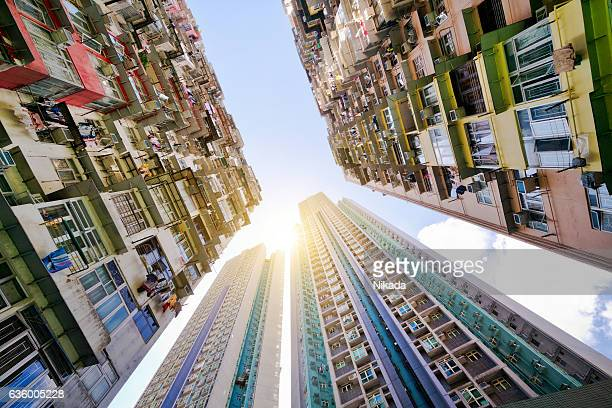 Low Angle View Of Buildings Against Sky, Hong Kong, China