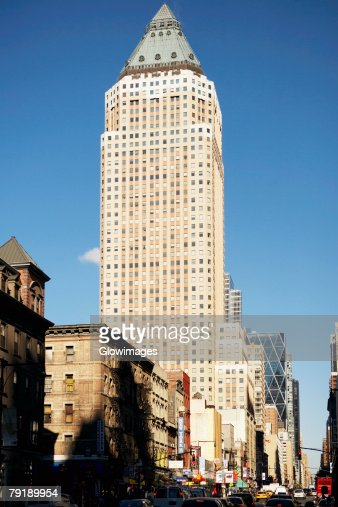 Low angle view of buildings, Eighth Avenue, Manhattan, New York City, New York State, USA : Stock Photo