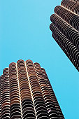 Low angle view of buildings in a city, Marina City Complex, Chicago, Illinois, USA