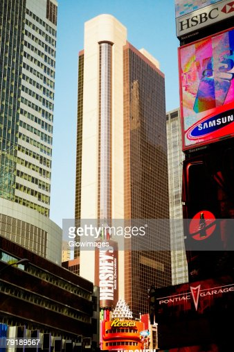 Low angle view of buildings in a city, Times Square, Manhattan, New York City, New York State, USA : Stock Photo
