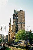 Low angle view of buildings, Kaiser Wilhelm Memorial Church, Kurfurstendamm, Berlin, Germany