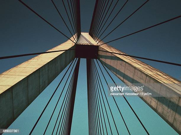 Low angle view of cable-stayed bridge against clear sky
