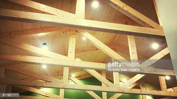 Low angle view of ceiling made by timber beam