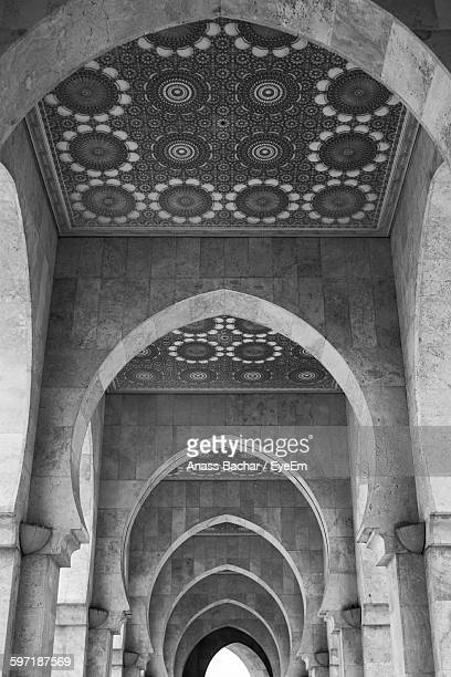 Low Angle View Of Ceiling With Arch At Mosque Hassan Ii