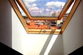 Low Angle View Of Cityscape Seen Through Skylight