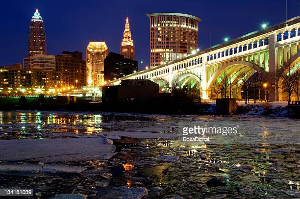 Low angle view of Cleveland cityscape skyline