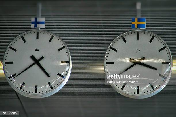 Low Angle View Of Clocks With Swedish Flags