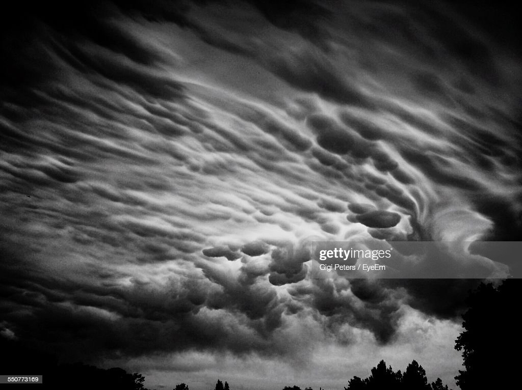 Low Angle View Of Cloudy Sky At Dusk