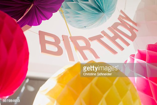 Low angle view of colorful birthday decorations