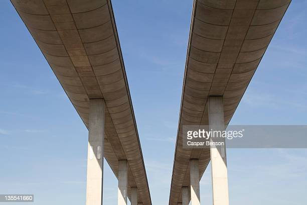 Low angle view of concrete overpasses