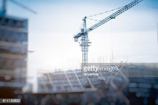 Low Angle View Of Cranes against skyline : 스톡 사진