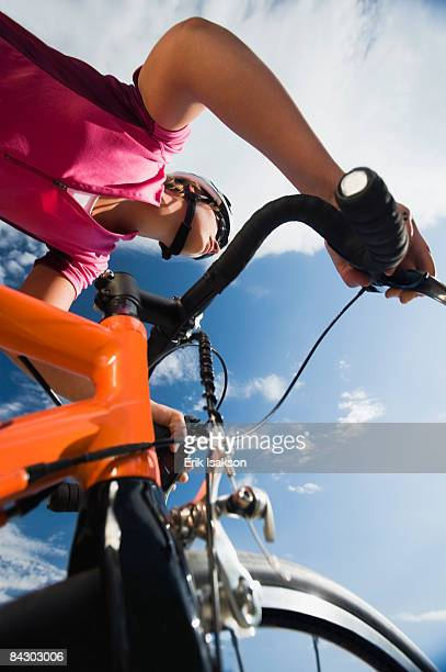 Low angle view of cyclist