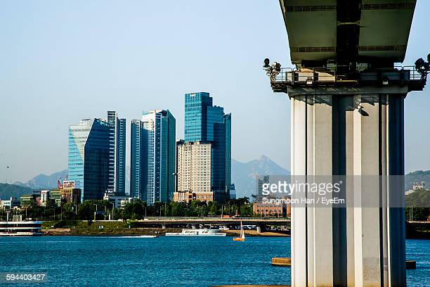 Low Angle View Of Dangsan Railway Bridge Over Han River In City Against Clear Sky