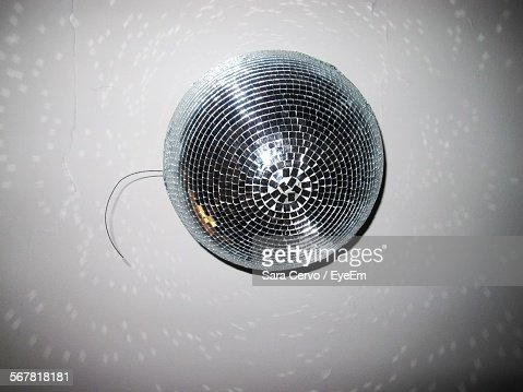Low Angle View Of Disco Ball Hanging From Ceiling